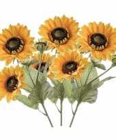 3x zonnebloemen kunstbloemen takken 62 cm 3 bloemen geel