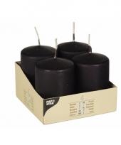 4 stompkaarsen 8 cm zwart