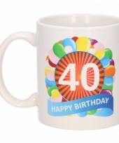 40 jaar cadeau beker 300 ml ballon thema
