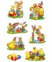 42x paashazen konijnen stickers met glitters