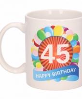45 jaar cadeau beker 300 ml ballon thema