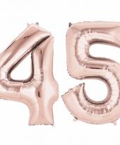 45 jaar geworden cijfer ballon rose goud