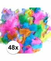 48 gekleurde decoratie veren zachte kleuren