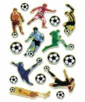48x voetbal stickers met 3d effect met zacht kunststof