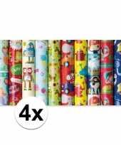 4x inpakpapier kinder verjaardag met boerderij thema 200 x 70