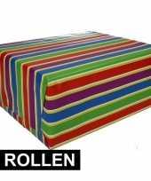 4x inpakpapier met strepen 200 x 70 cm op rol type 1