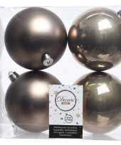 4x kasjmier bruine kerstballen 10 cm kunststof mat glans