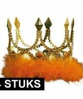 4x koningskronen goud met oranje veren
