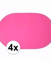 4x ovale placemats fuchsia roze 43 x 28 cm
