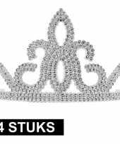 4x prinsessen tiara zilver voor dames