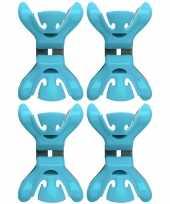 4x slingers decoratie ophangen slingerklemmen blauw