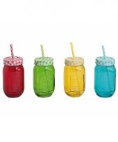 4x smoothies drinkbekers met rietje 10075908