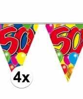 4x stuks 50 jaar vlaggenlijnen 10 meter