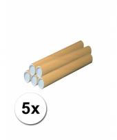 5 knutsel kokers van bruin karton 50 cm