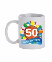 50 jaar cadeau beker 300 ml ballon thema