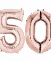 50 jaar geworden cijfer ballon rose goud