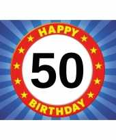 50 jaar stopbord thema stickers 7 5 x 10 5 cm