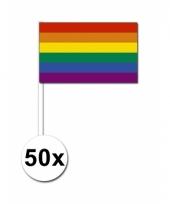 50 regenboog zwaai vlaggetjes 12 x 24 cm