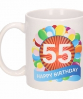 55 jaar cadeau beker 300 ml ballon thema
