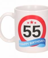 55 jaar cadeau beker 300 ml verkeersbord thema