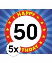 5x 50 jaar stopbord thema stickers 7 5 x 10 5 cm
