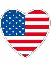 5x amerika hangdecoratie harten 14 cm