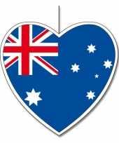 5x australie hangdecoratie harten 14 cm