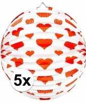 5x bol lampion hart rond 36 cm