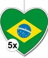 5x brazili hangdecoratie harten 28 cm