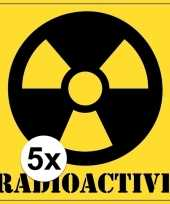 5x gevaarsymbool radioactive radioactief sticker 10 5 cm