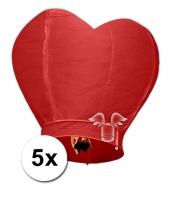 5x grote wensballon in hartvorm rood 100 cm