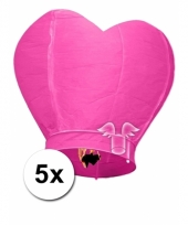 5x grote wensballon in hartvorm roze 100 cm