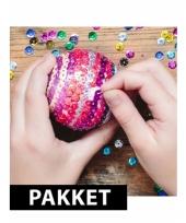 5x kerstballen diy pakket van 10 cm