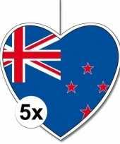 5x nieuw zeeland hangdecoratie harten 28 cm
