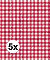 5x pakjes oktoberfest wegwerpservetten geruit rood wit 3 laags 20 stuks
