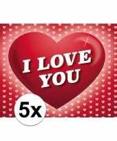 5x romantische valentijnskaart i love you met hartjes
