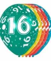 5x stuks 16 jaar thema versiering heliumballonnen 30 cm