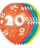 5x stuks 20 jaar thema versiering heliumballonnen 30 cm