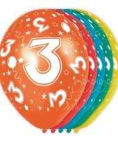 5x stuks 3 jaar thema versiering heliumballonnen 30 cm