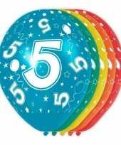 5x stuks 5 jaar thema versiering heliumballonnen 30 cm