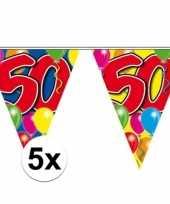 5x stuks 50 jaar vlaggenlijnen 10 meter