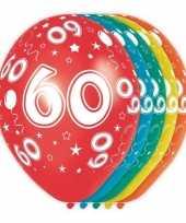 5x stuks 60 jaar thema versiering heliumballonnen 30 cm