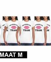 5x vrijgezellenfeest team t-shirt wit dames maat m