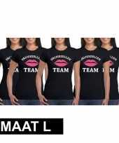 5x vrijgezellenfeest team t-shirt zwart dames maat l