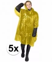 5x wegwerp regen poncho geel