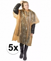 5x wegwerp regen poncho oranje