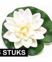5x witte lotus waterlelies kunstbloemen 10 cm