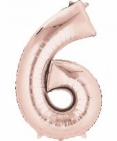 6 jaar geworden cijfer ballon rose goud