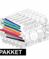 6 pasen kleurplaten placemats inclusief stiften