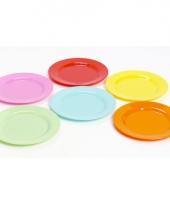 6 plastic camping ontbijt bordjes gekleurde